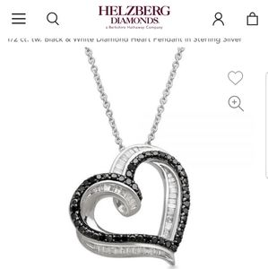 Sterling silver heart pendant with 43 baguette cut